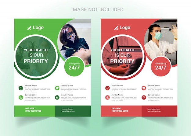 Corporate healthcare and medical flyer Premium Vector