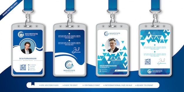 Corporate id card design template Premium Vector
