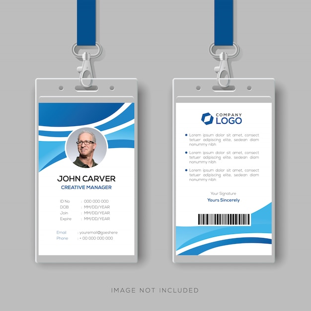 Corporate id card template with blue details Premium Vector