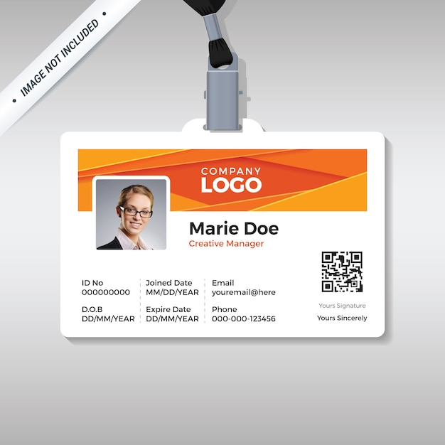 Corporate id card template with modern abstract background Premium Vector