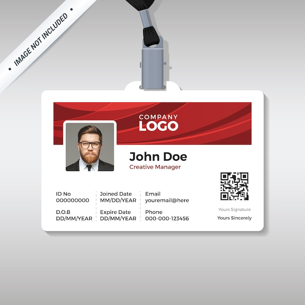 Corporate id card template with red curve background Premium Vector