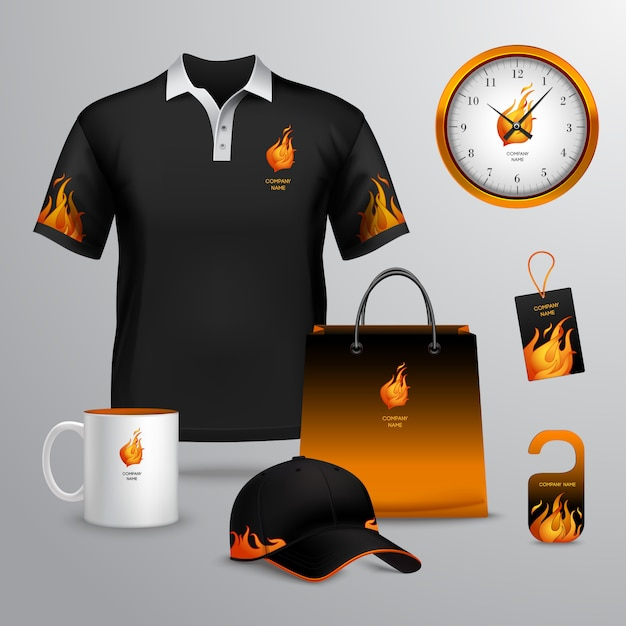 Corporate identity black and fire template decorative set with paper bag tag mug vector illustration Free Vector