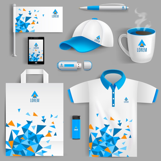 Corporate identity blue Free Vector