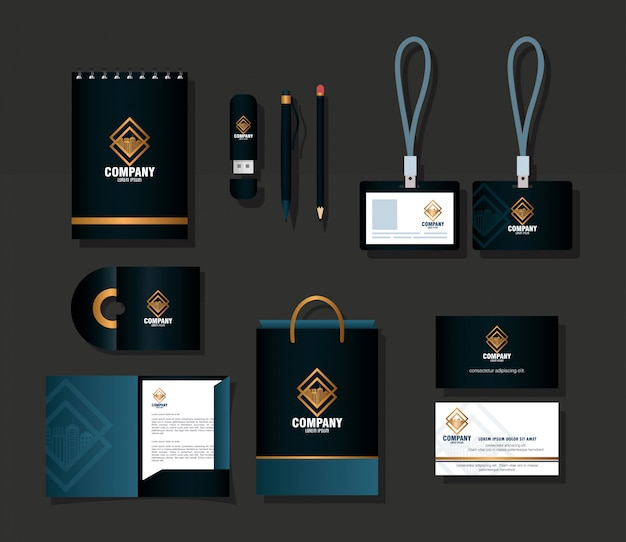 コーポレート・アイデンティティブランドのモックアップ、文房具のモックアップは黒い看板に金色のサインを提供します Premiumベクター