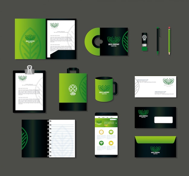 Corporate identity brand, smartphone and business icons green, green company sign Premium Vector