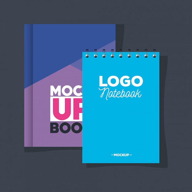 Макет брендинга фирменного стиля, макет с записной книжкой и обложкой фиолетового и синего цвета Premium векторы