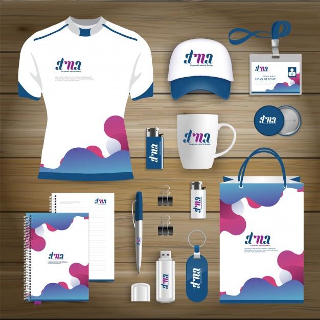 Corporate identity business gift items design template mockup Premium Vector