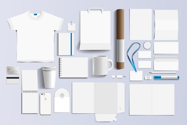 Corporate identity business items. Premium Vector