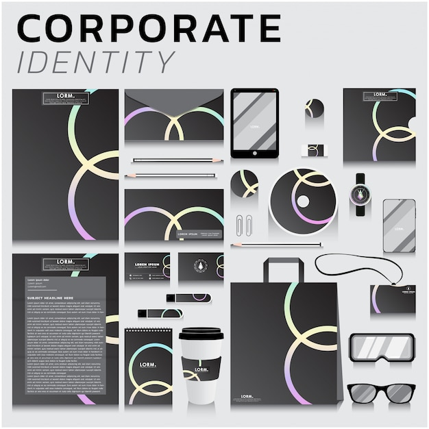 Corporate identity for business and marketing design Premium Vector