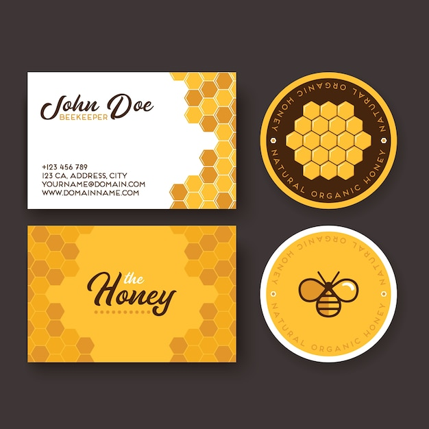 Corporate identity for a company producing bee honey Premium Vector
