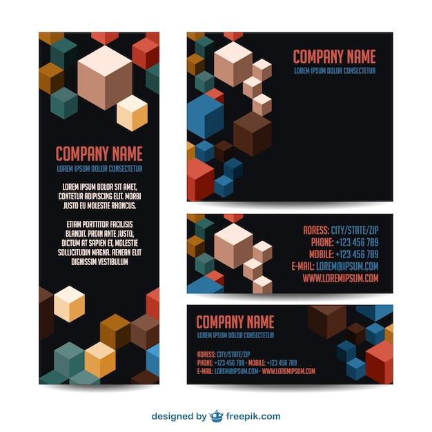 Corporate identity cube design Free Vector