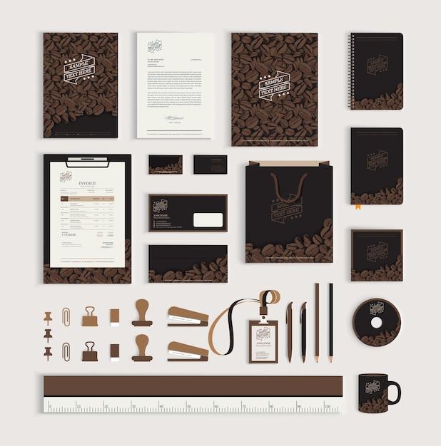 コーヒー豆を使ったコーポレートアイデンティティデザインテンプレート Premiumベクター