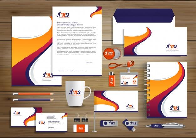 Corporate identity design template Premium Vector