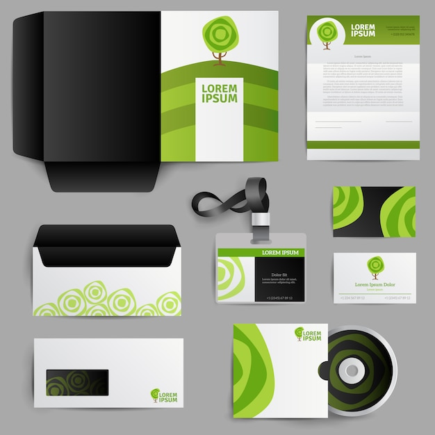 Corporate identity eco design with green tree Free Vector