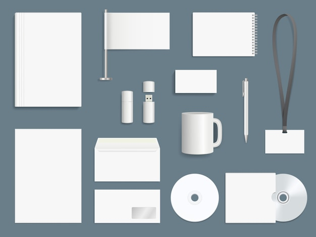 Corporate identity elements. business stationary collection branding symbols vector design template Premium Vector