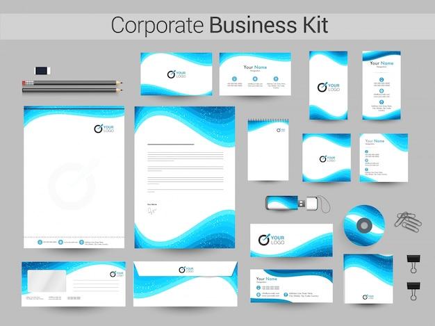 青い波の企業アイデンティティキット。 Premiumベクター