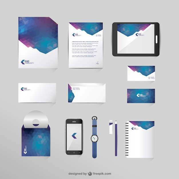 Corporate identity mock-up in space colors Free Vector