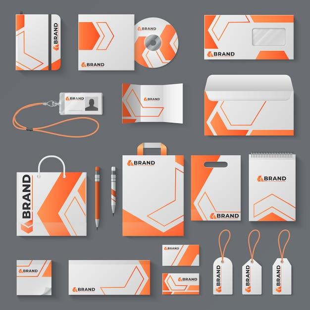 コーポレートアイデンティティ。オフィス文具ブランド名刺レター封筒マグカップブランドパンフレットカバー。身元 Premiumベクター