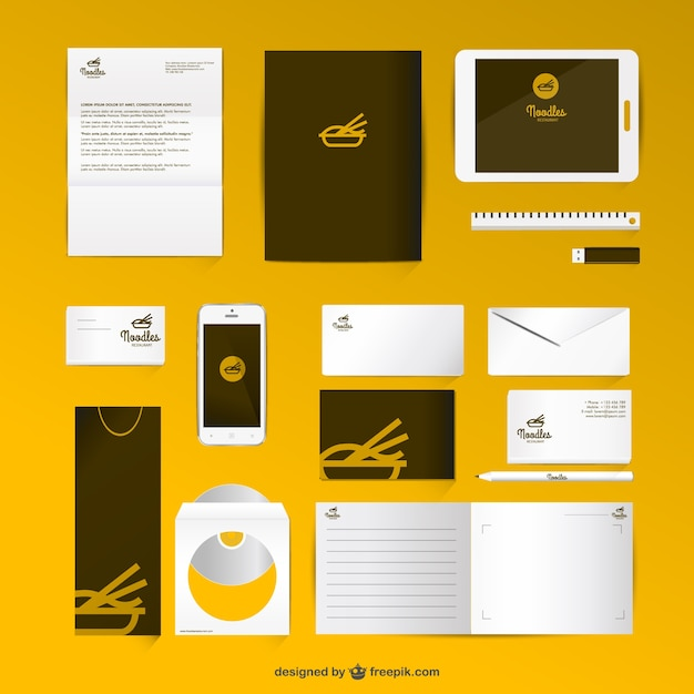 corporate identity set mock-up style vector | free download, Powerpoint templates