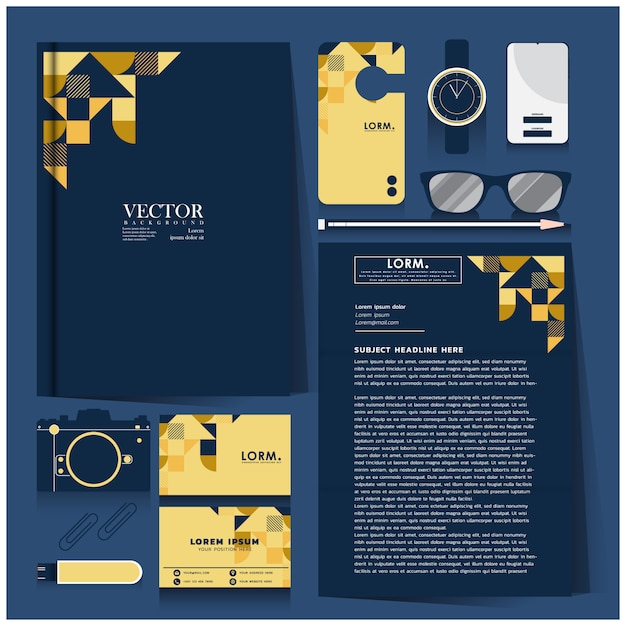 Corporate identity set with white design on gold and blue Premium Vector
