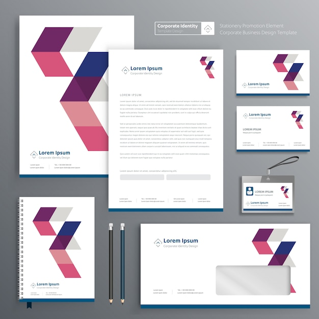 Corporate identity for stationery Premium Vector