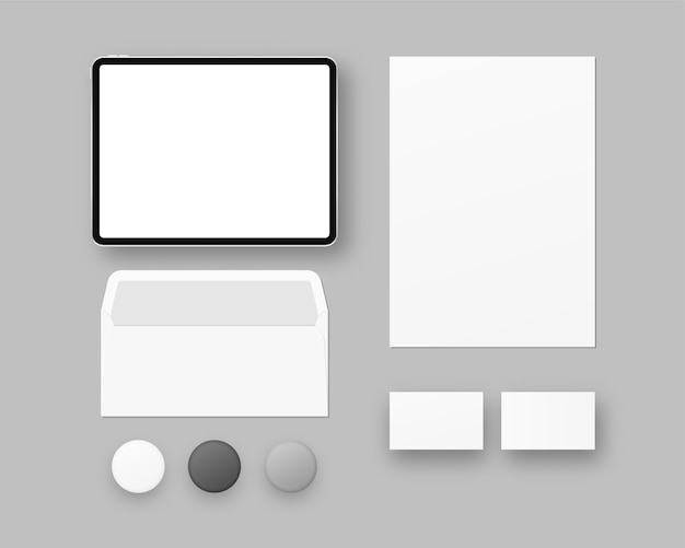 Corporate identity template set. business stationery  with tablet, paper, business cards, envelope, badge.   . template . realistic  illustration. Premium Vector