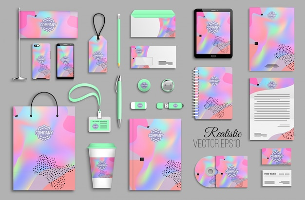 Corporate identity template set with abstract colorful holographic background. business stationery mock-up with logotype. creative trendy branding design Premium Vector