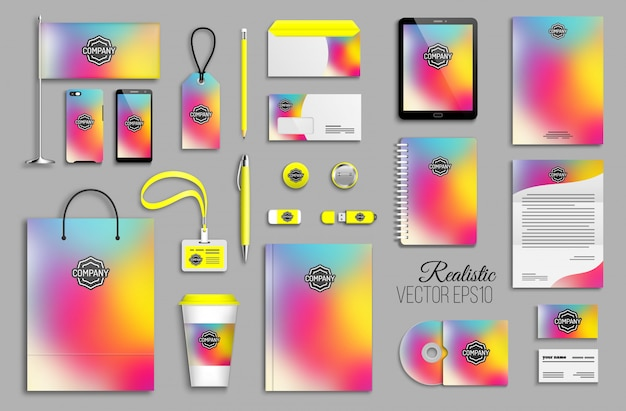 Corporate identity template set with abstract colorful holographic background. business stationery with logotype. creative trendy branding design Premium Vector