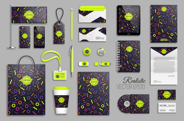 Corporate identity template set with neon color geometric shapes abstract background Premium Vector