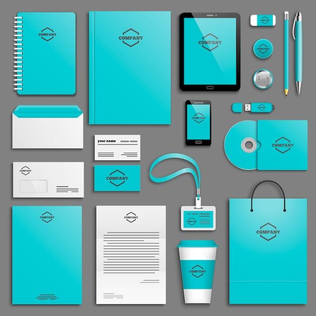 Corporate identity template set Premium Vector