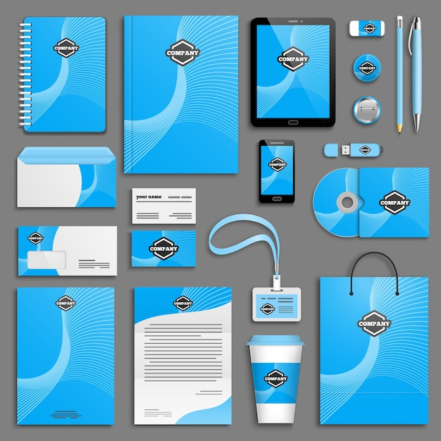 Corporate identity template set. Premium Vector