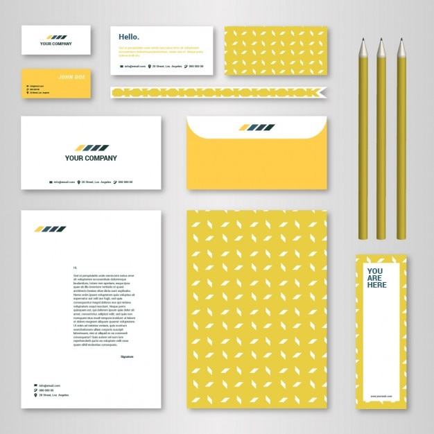 Corporate identity template with yellow pattern for for Free brand guidelines template