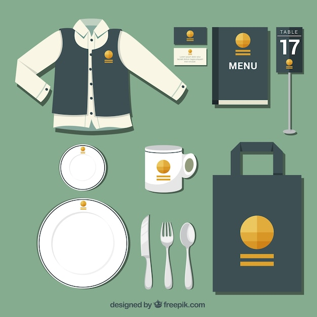 Corporate identity with a yellow logo for a restaurant