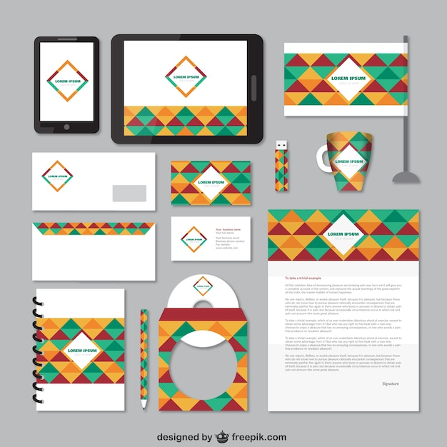 Corporate identity with colorful mosaic