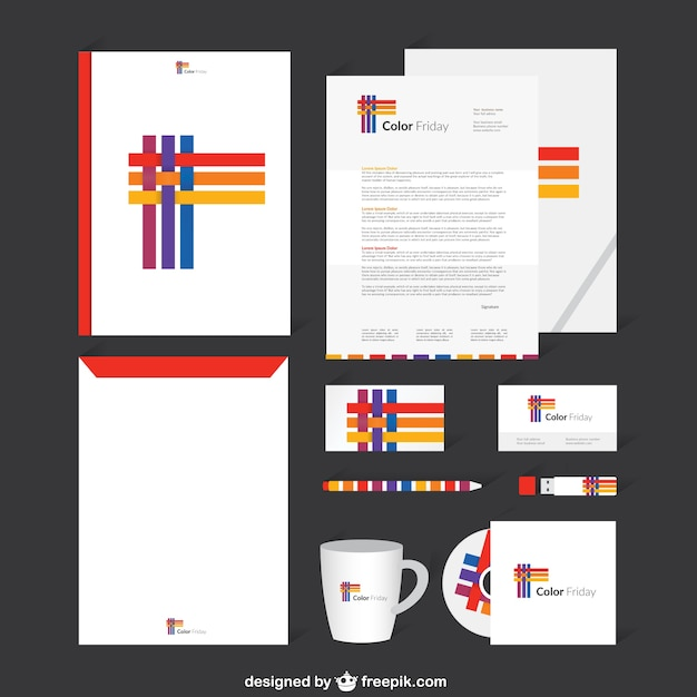 Corporate identity with colorful stripes