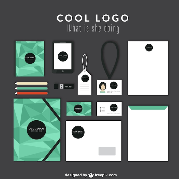 Corporate identity with green polygons Free Vector