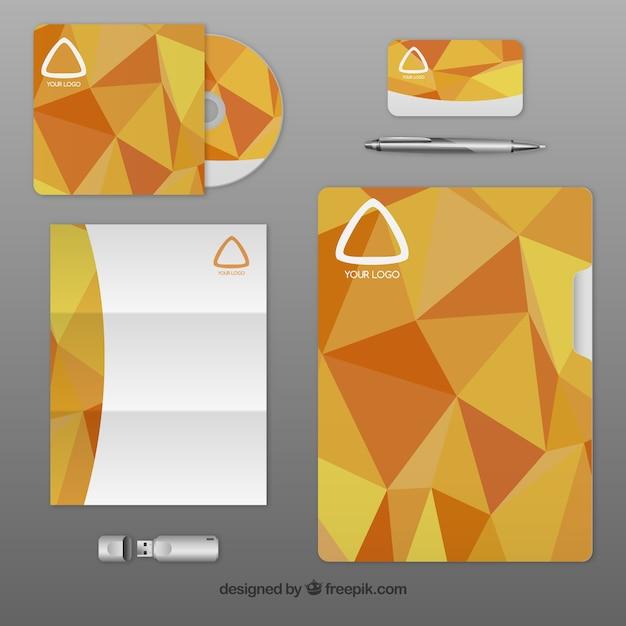 Corporate identity with orange polygons