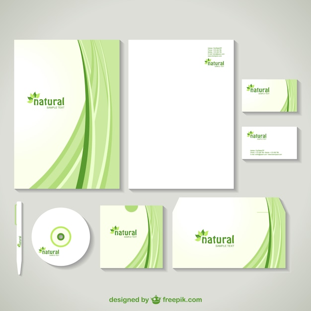 Corporate image design in green with curves vector free download corporate image design in green with curves free vector accmission