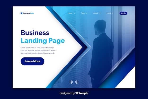 Corporate landing page with photo template Free Vector