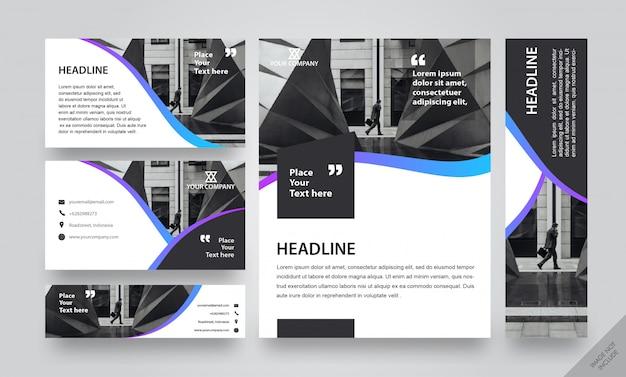 Corporate layout pack gradient strip Premium Vector