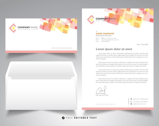 Corporate letterhead template envelope mockup Premium Vector