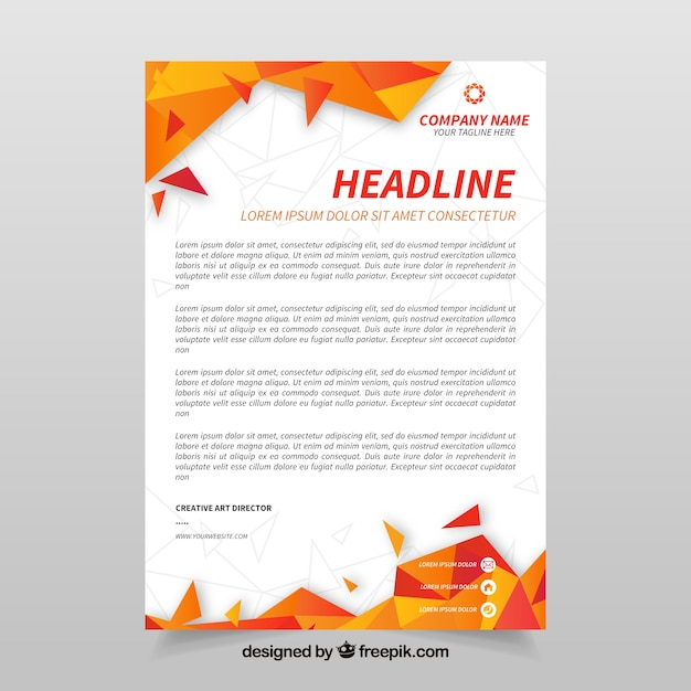 Corporate letterhead with orange abstract shapes Premium Vector