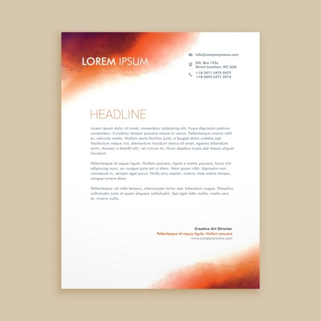Corporate Letterhead With Watercolor Vector  Free Download