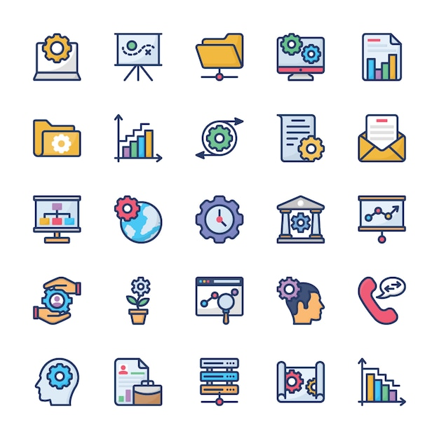 Corporate management and teamwork glyph icons Premium Vector