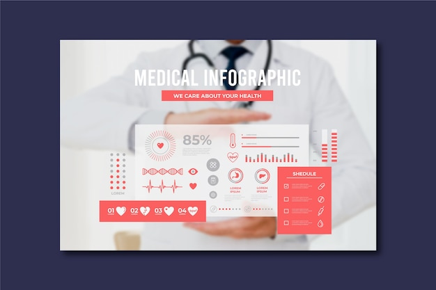 Corporate medical infographic with photo Free Vector