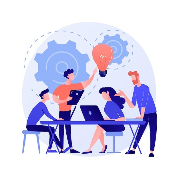 기업 회의. 직원은 비즈니스 전략을 논의하고 추가 조치를 계획하는 캐릭터 만화. 브레인 스토밍, 공식 커뮤니케이션, 세미나 개념 그림 무료 벡터