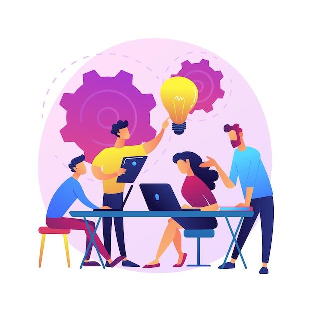 Riunione aziendale. personaggi dei cartoni animati dei dipendenti che discutono della strategia aziendale e pianificano ulteriori azioni. brainstorming, comunicazione formale, seminario. Vettore gratuito