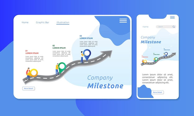 Corporate milestone with figure illustration on the road Premium Vector