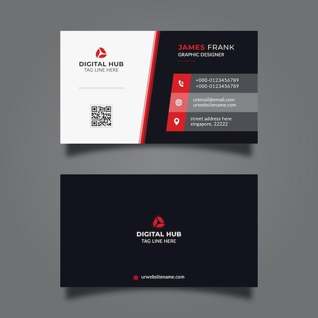 Corporate minimal business card template Premium Vector