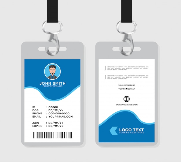 Corporate office id card Premium Vector